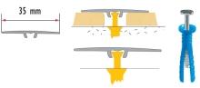 Přechodová lišta Cezar samolepící plochá 35mm 1,8m stříbrná