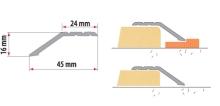 Náběhová lišta šroubovací 46x16 mm hliník stříbrná 1 m