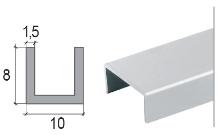 U profil Cezar eloxovaný hliník 10x8x1,5mm 2m